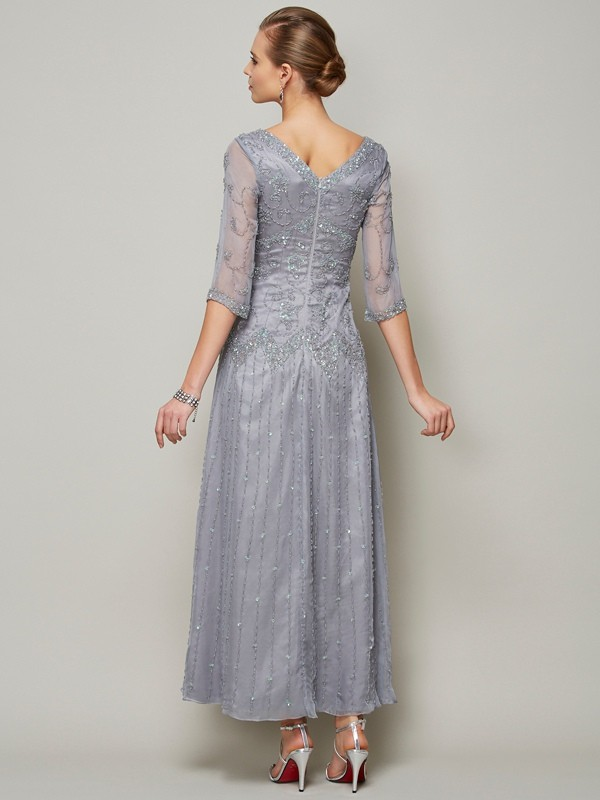 Sheath/Column V-neck 1/2 Sleeves Beading Long Elastic Woven Satin Mother of the Bride Dresses