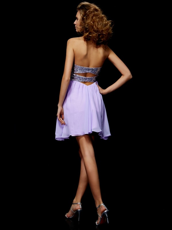 Sheath/Column Sweetheart Sleeveless Lace Short Chiffon Dresses