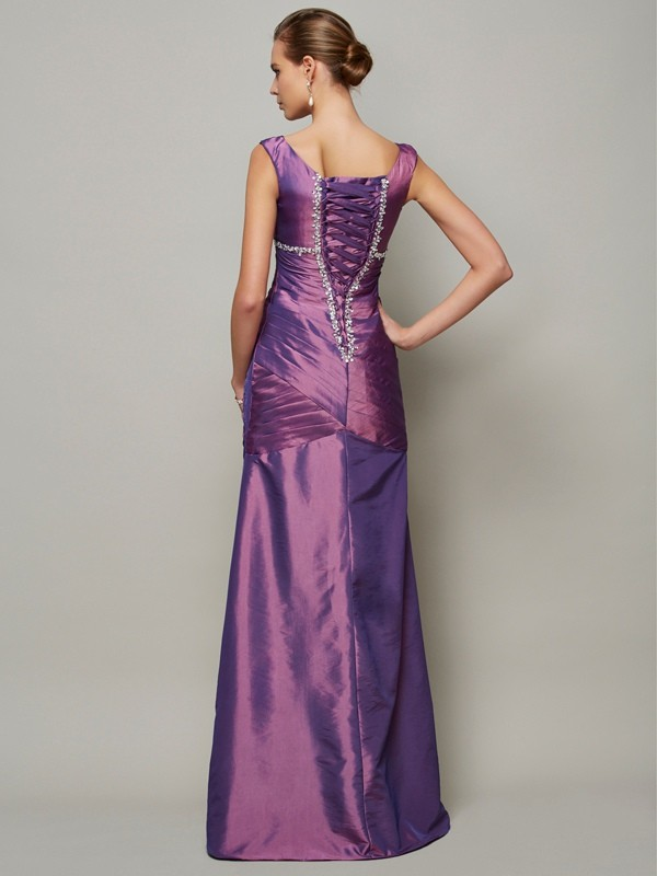 Sheath/Column V-neck Sleeveless Beading Long Taffeta Dresses