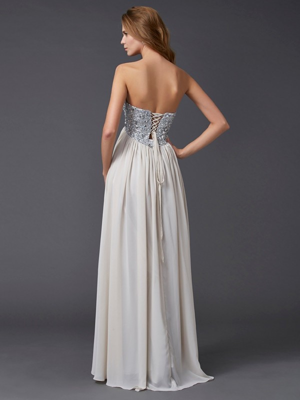 A-Line/Princess Sweetheart Sleeveless Rhinestone Long Chiffon Dresses