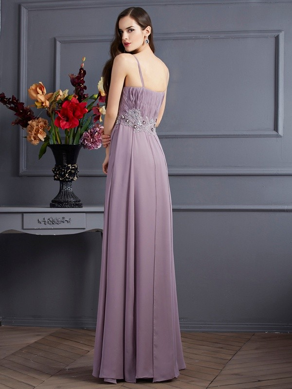 Empire Spaghetti Straps Sleeveless Beading Long Chiffon Dresses
