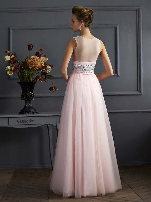 Ball Gown V-neck Sleeveless Beading Long Net Dresses