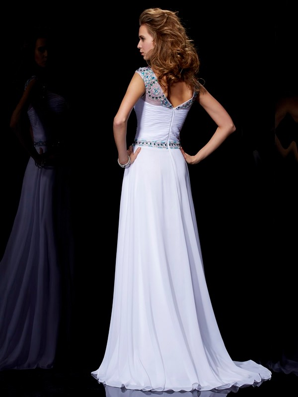 A-Line/Princess Scoop Short Sleeves Beading Long Chiffon Dresses