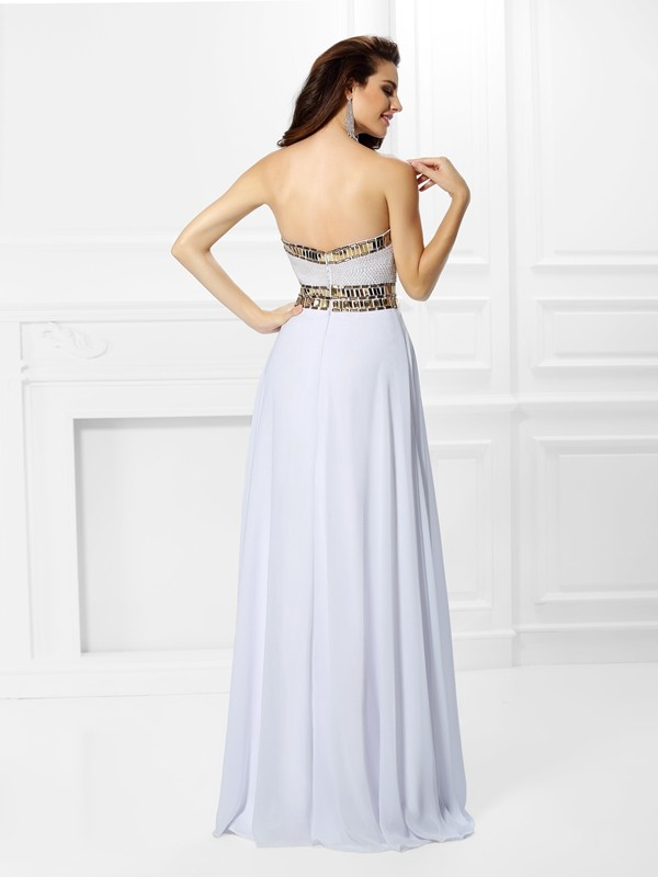 Empire Sweetheart Pleats Sleeveless Long Chiffon Dresses