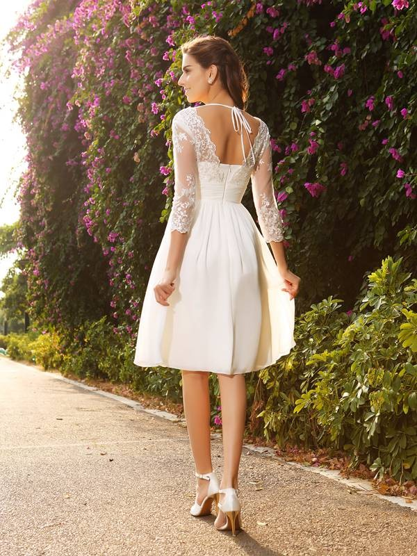 A-Line/Princess V-neck 3/4 Sleeves Short Chiffon Wedding Dresses