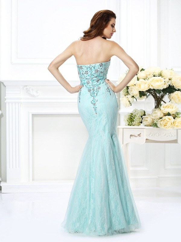 Trumpet/Mermaid Sweetheart Beading Lace Sleeveless Long Net Dresses