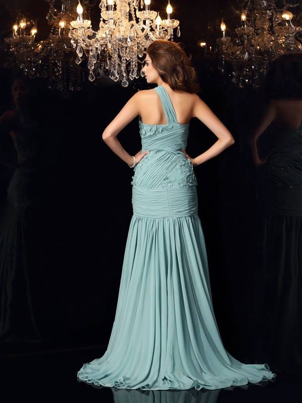 Trumpet/Mermaid One-Shoulder Sleeveless Long Chiffon Dresses