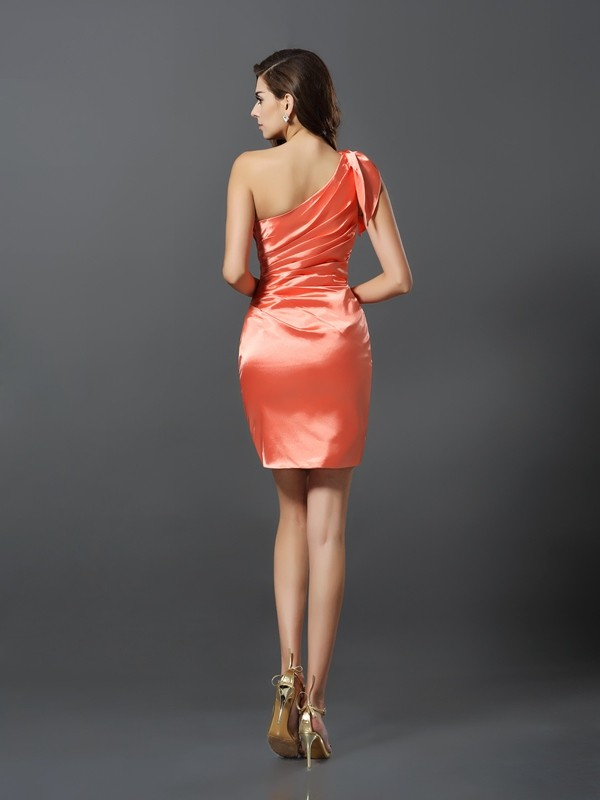 Sheath/Column One-Shoulder Pleats Sleeveless Short Elastic Woven Satin Bridesmaid Dresses