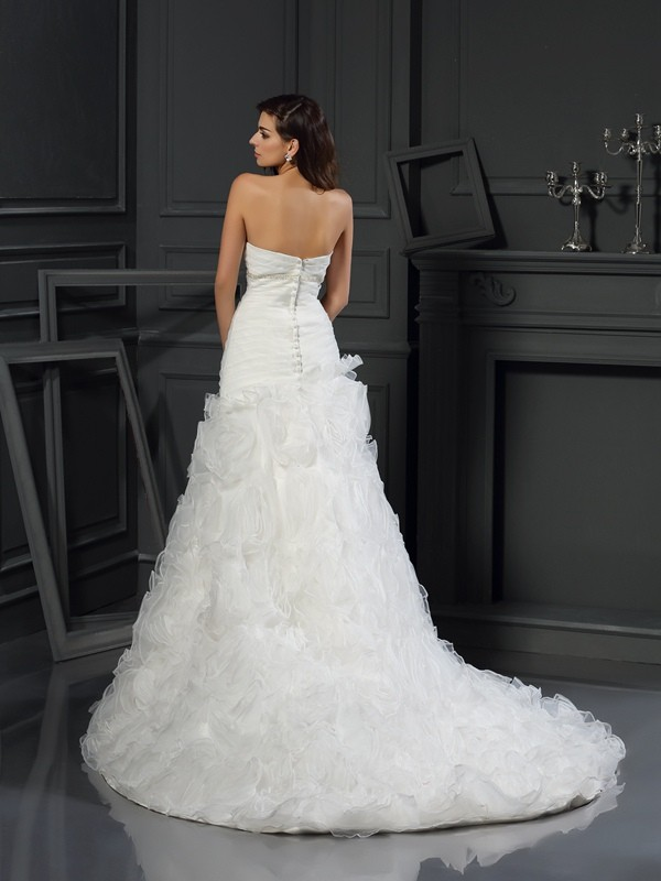A-Line/Princess Sweetheart Beading Sleeveless Long Organza Wedding Dresses