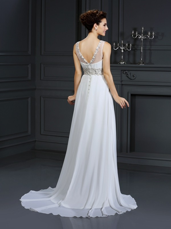 A-Line/Princess Bateau Ruffles Sleeveless Long Chiffon Wedding Dresses
