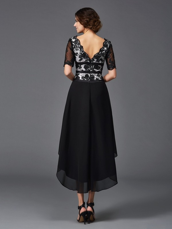 A-Line/Princess V-neck Lace 1/2 Sleeves High Low Chiffon Dresses