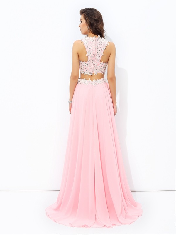 A-line/Princess Straps Applique Sleeveless Long Chiffon Two Piece Dresses