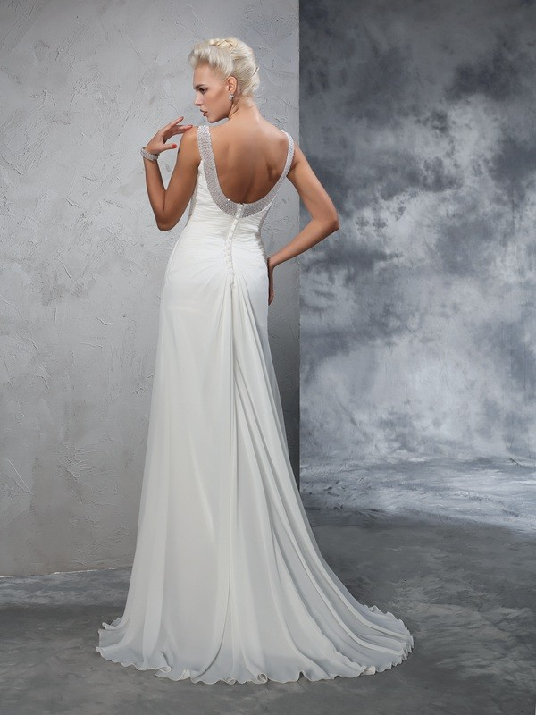Trumpet/Mermaid Straps Ruched Sleeveless Long Chiffon Wedding Dresses