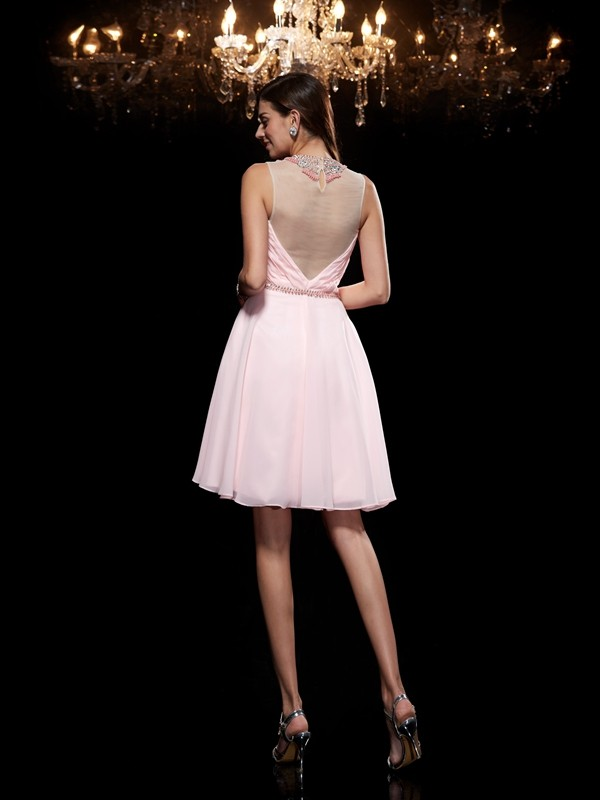 A-Line/Princess Scoop Beading Sleeveless Short Chiffon Dresses