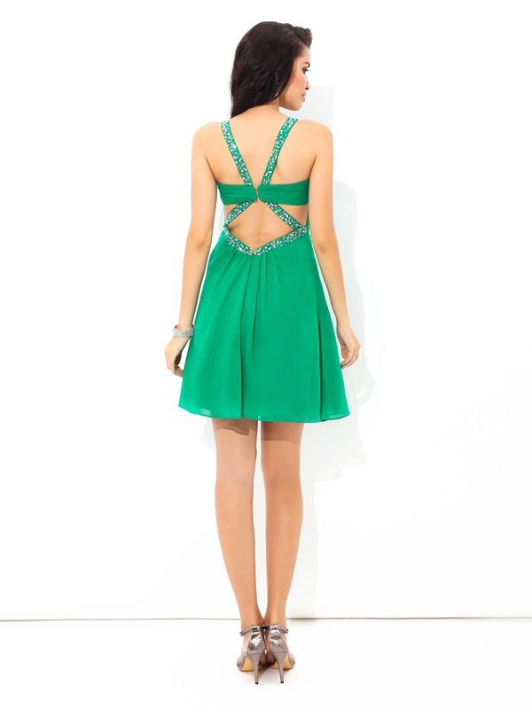 A-Line/Princess Straps Pleats Sleeveless Short Chiffon Cocktail Dresses