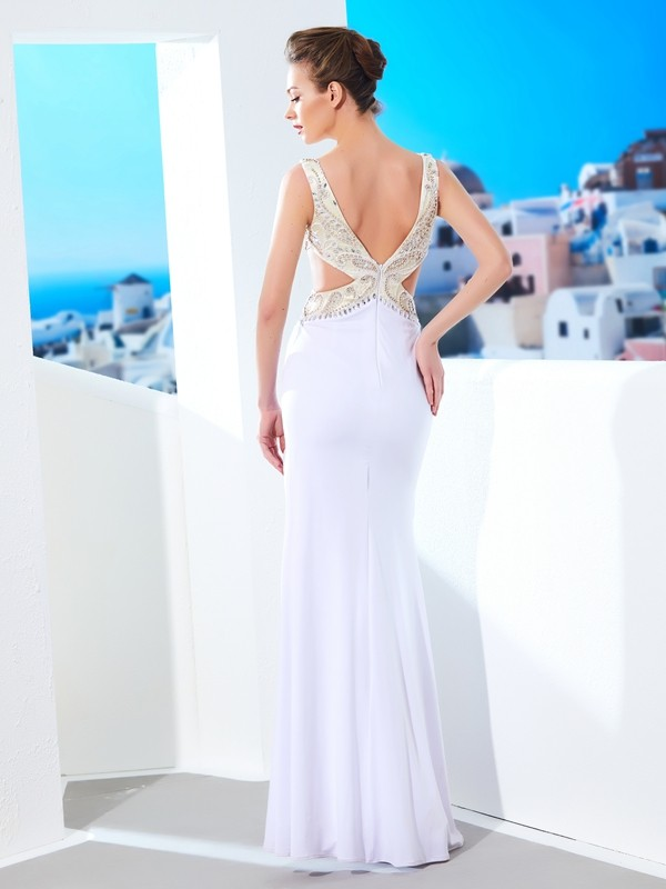 Sheath/Column V-neck Sleeveless Beading Floor-Length Spandex Dresses