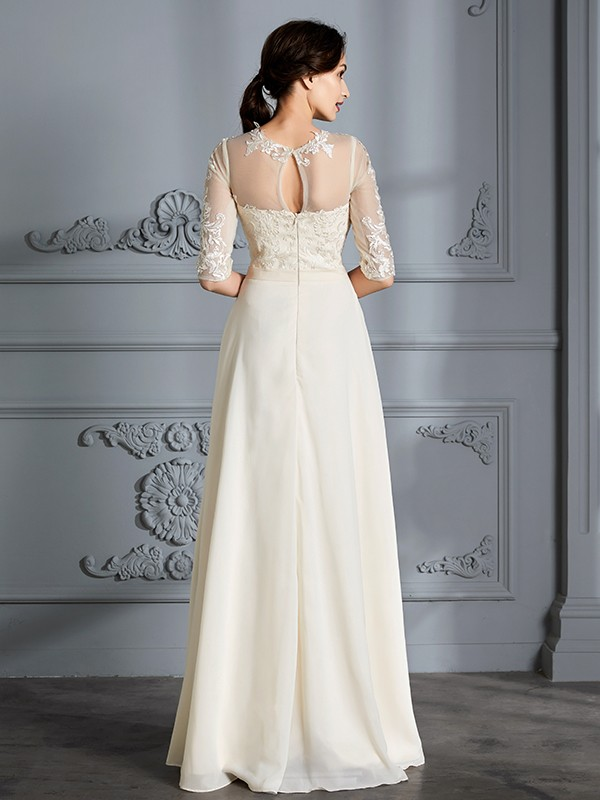 A-Line Scoop 1/2 Sleeves Floor-Length Chiffon Wedding Dresses