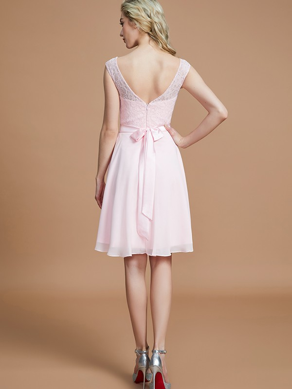 A-Line Bateau Sleeveless Lace Short/Mini Chiffon Bridesmaid Dresses