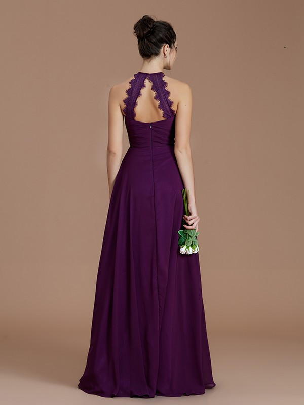 A-Line Halter Sleeveless Ruched Floor-Length Chiffon Bridesmaid Dresses