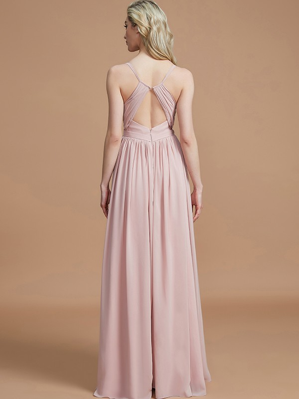 A-Line Spaghetti Straps Sleeveless Ruched Floor-Length Chiffon Bridesmaid Dresses