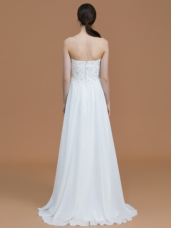 A-Line Sweetheart Sleeveless Sweep/Brush Train Chiffon Bridesmaid Dress