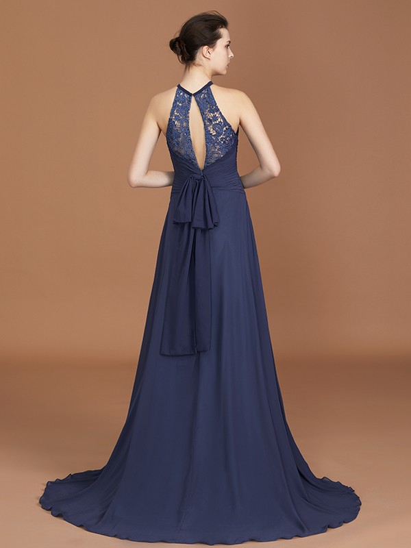 A-Line Scoop Sleeveless Sweep Train Chiffon Bridesmaid Dress