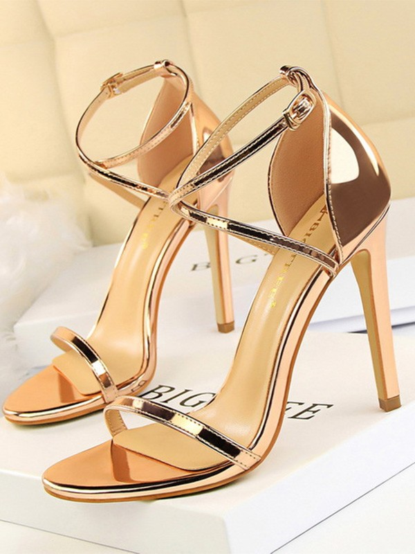 Fashion Patent Leather Stiletto Heel Peep Toe Women's Sandals