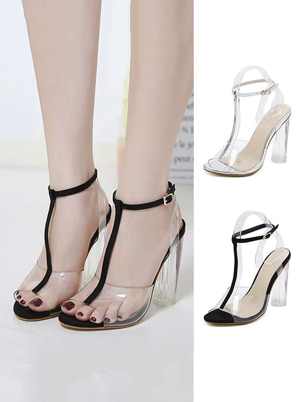 Peep Toe Plastic Chunky Heel Women's Sandals With Buckle