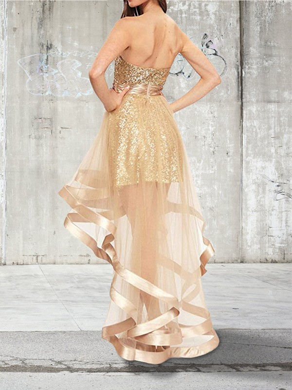 A-Line Sleeveless Sweetheart Asymmetrical Sequin Organza Dresses