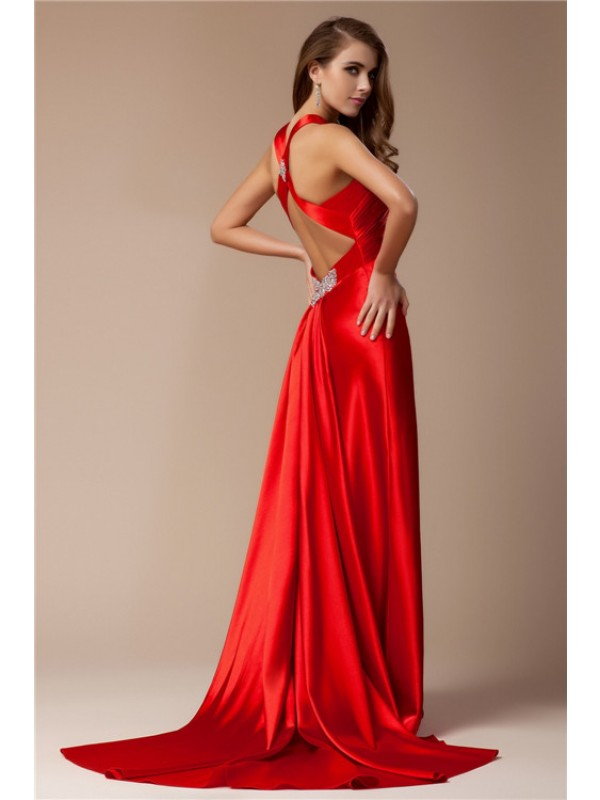 Sheath/Column V-neck Sleeveless Long Elastic Woven Satin Dresses