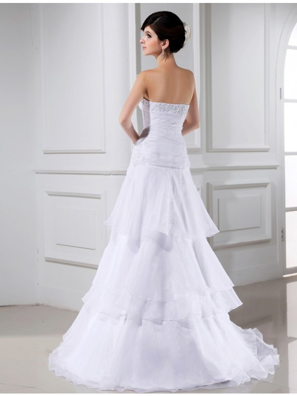 A-Line/Princess Beading Sleeveless Organza Strapless Long Wedding Dresses