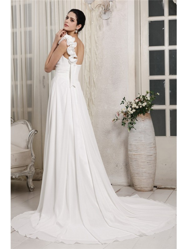 Sheath/Column One-Shoulder Sleeveless Ruffles Long Chiffon Wedding Dresses