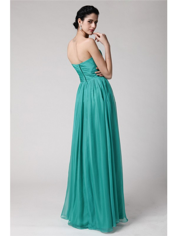 Sheath/Column Sweetheart Sleeveless Pleats Long Chiffon Bridesmaid Dresses