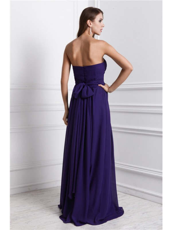 Sheath/Column Sweetheart Sleeveless Ruffles Long Chiffon Bridesmaid Dresses
