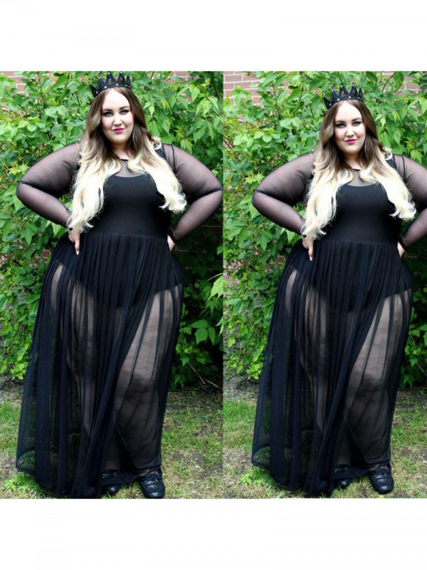 A-Line Sheer Neck Long Sleeves Ruched Floor-Length Chiffon Plus Size Dresses