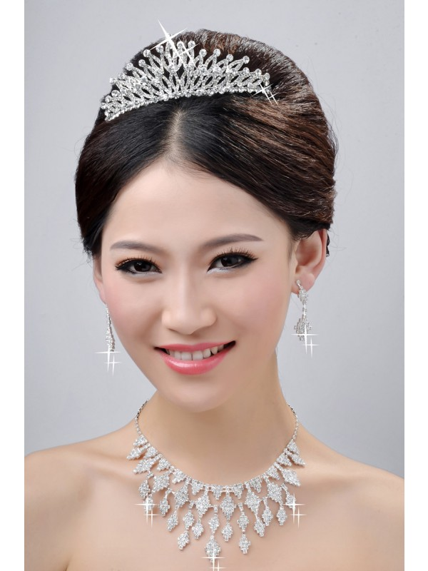 New Style Charming Alloy Clear Crystals Wedding Headpieces Necklaces Earrings Set