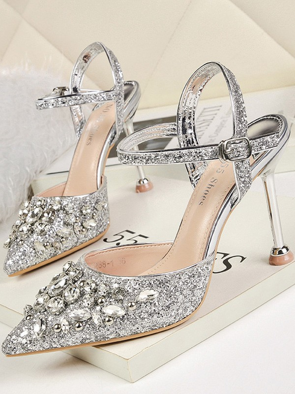 Stylish Rhinestone Stiletto Heel Closed Toe Women's Sandals