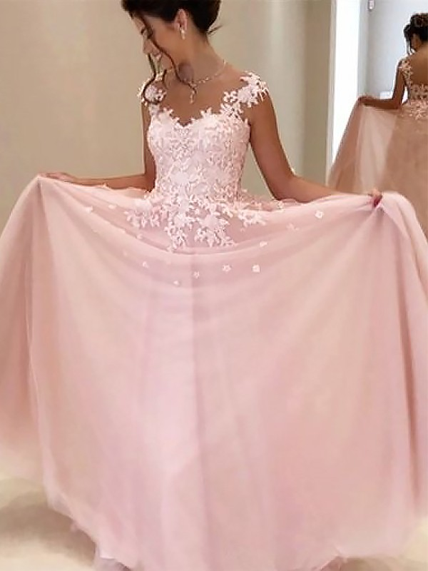 A-Line Sweetheart Sleeveless Floor-Length Applique Tulle Dresses