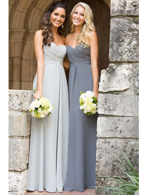 A-Line/Princess Sleeveless Sweetheart Floor-Length Ruched Chiffon Bridesmaid Dresses