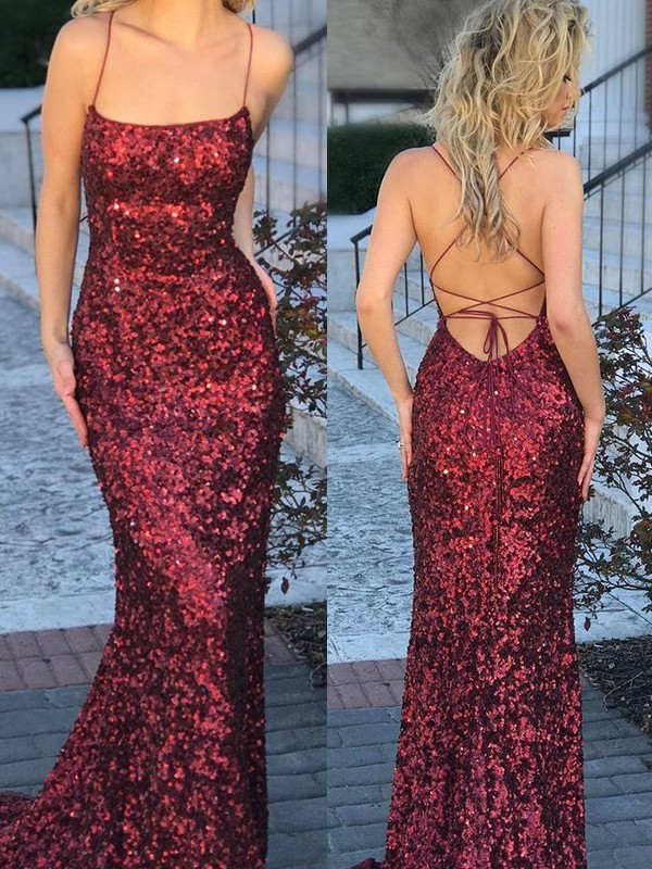 Mermaid Sleeveless Spaghetti Straps Sweep/Brush Train Sequins Dresses