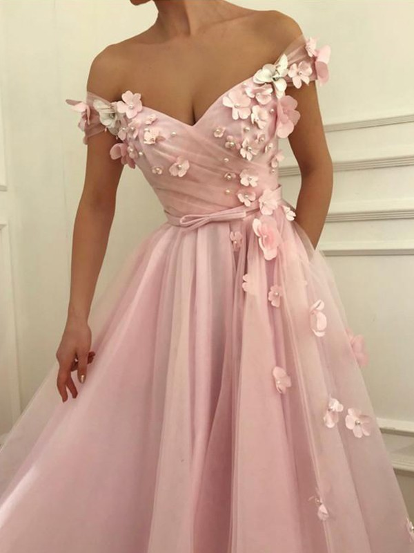 A-Line Sleeveless Off-the-Shoulder Floor-Length Applique Tulle Dresses