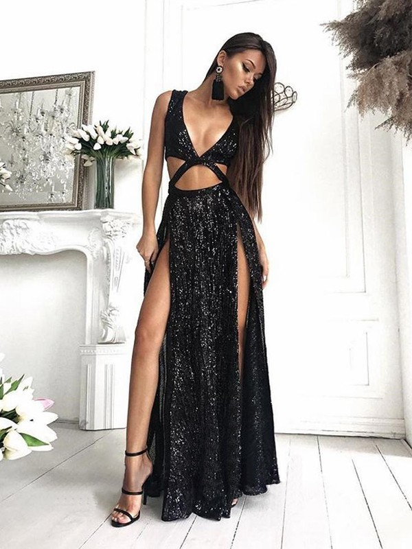 A-Line Sleeveless V-neck Floor-Length Ruffles Sequins Dresses