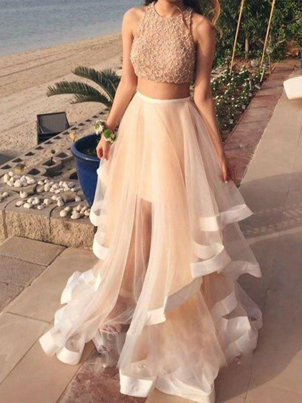 A-Line Sleeveless Halter Floor-Length Beading Organza Two Piece Dresses
