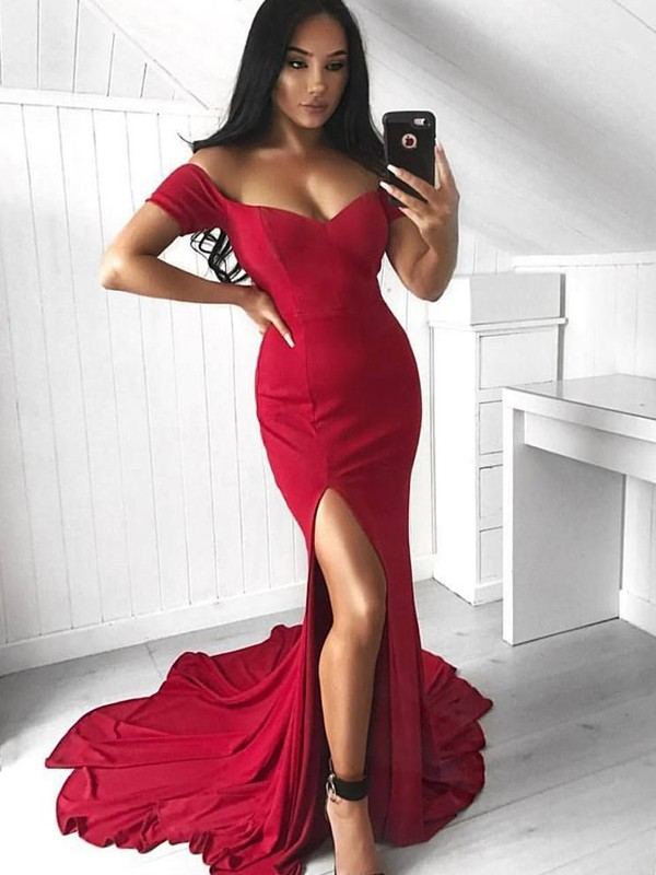 Mermaid Sleeveless Off-the-Shoulder Sweep/Brush Train Ruffles Elastic Woven Satin Dresses