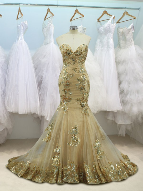 Mermaid Sleeveless Sweetheart Sweep/Brush Train Sequin Tulle Dresses