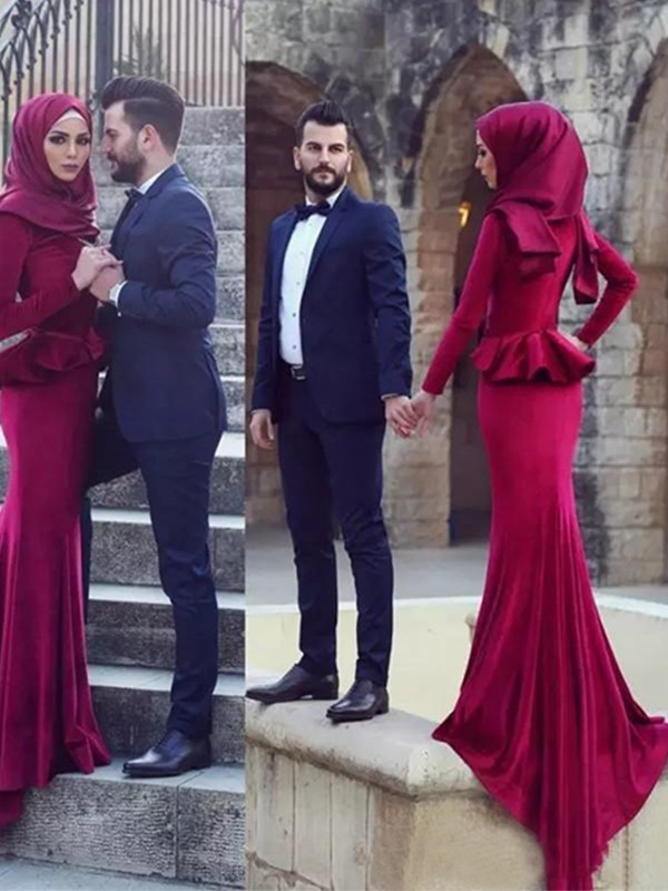 Mermaid Long Sleeves Scoop Sweep/Brush Train Ruffles Velvet Muslim Dresses