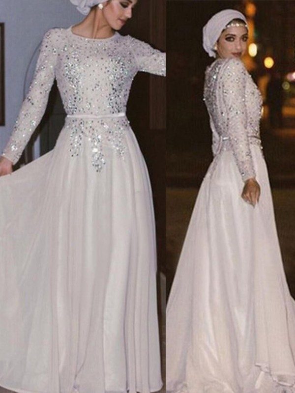 A-Line Long Sleeves Scoop Floor-Length Crystal Chiffon Muslim Dresses