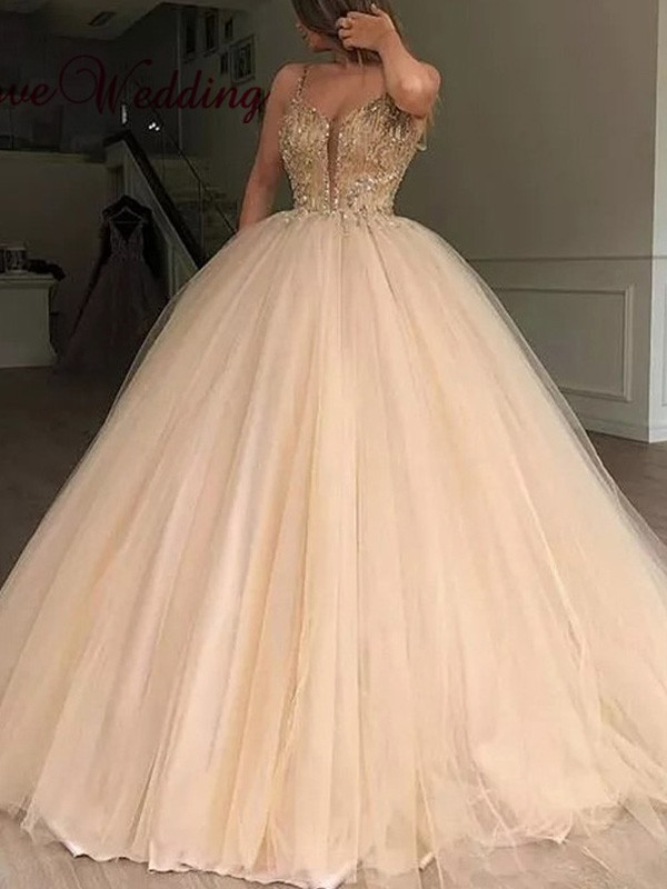 V-neck Ball Gown Floor-Length Sleeveless Tulle Beading Dresses