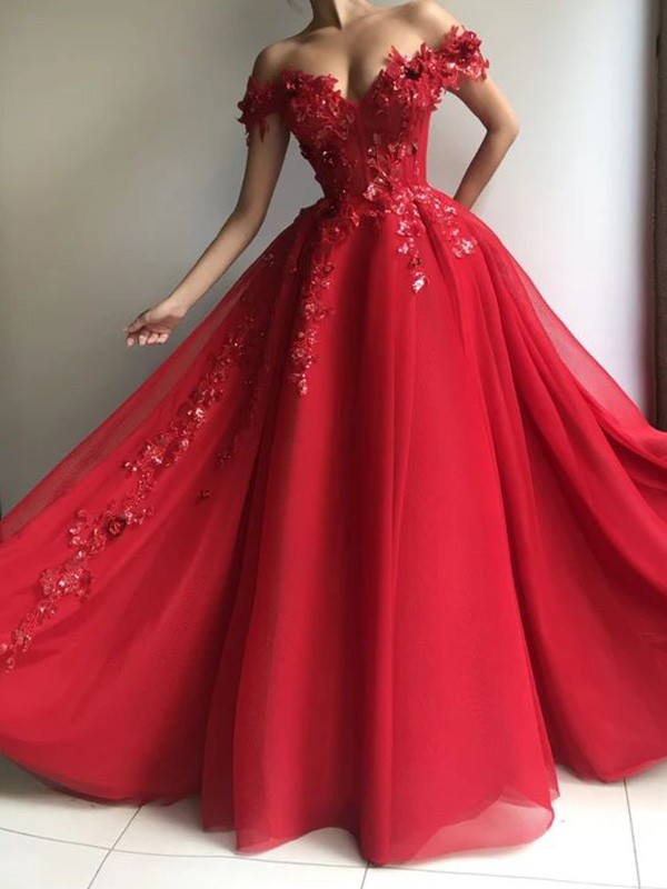 Tulle A-Line/Princess Floor-Length Applique Off-the-Shoulder Sleeveless Dresses