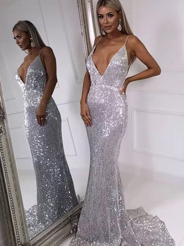Ruffles Trumpet/Mermaid Sequins Sleeveless V-neck Sweep/Brush Train Dresses